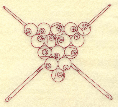 Embroidery Design: Cue sticks and racked balls redwork 4.38w X 4.92h