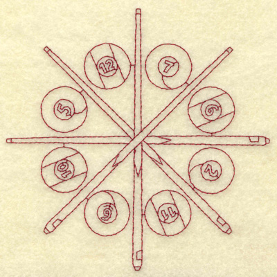 Embroidery Design: Cue sticks and clrcle of balls redwork large 4.96w X 4.96h