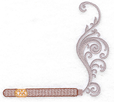 Embroidery Design: Cigar horizontal with smoke large 4.96w X 4.44h