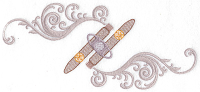 Embroidery Design: Cigars lance and smoke large  10.07w X 4.56h