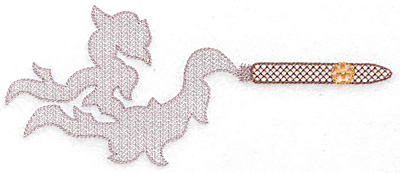 Embroidery Design: Cigar and smoke 6.99w X 2.89h