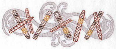 Embroidery Design: Cigars in a row with smoke large 10.06w X 4.04h