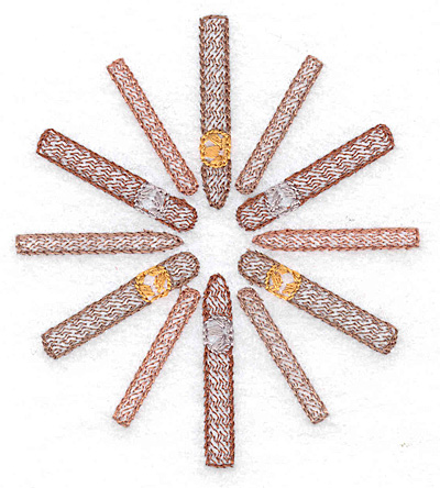 Embroidery Design: Cigars in a circle small 3.44w X 3.87h