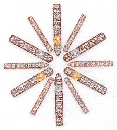 Embroidery Design: Cigars in a circle medium 4.44w X 4.99h