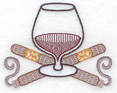 Embroidery Design: Brandy snifter with crossed cigars small 3.86w X 3.08h