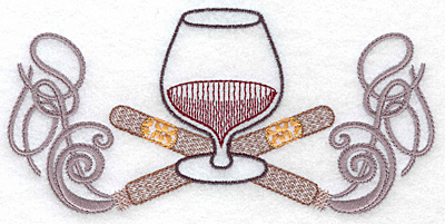 Embroidery Design: Brandy snifter with crossed cigars medium 6.45w X 3.12h