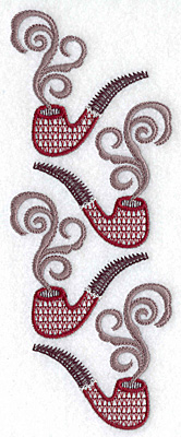 Embroidery Design: Pipes in a row 6.93w X 2.67h