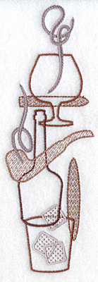 Embroidery Design: Snifter pipe bottle glass cigar small 6.95w X 2.32h