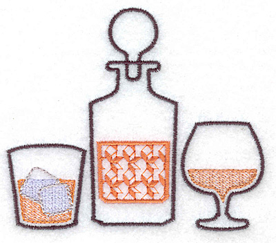 Embroidery Design: Glass decanter snifter small 3.89w X 3.37h