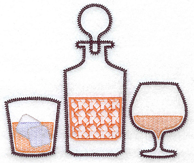 Embroidery Design: Glass decanter snifter large 5.87w X 4.99h