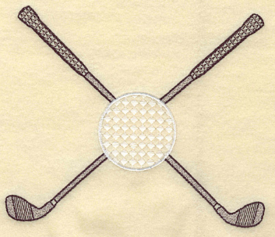 Embroidery Design: Crossed golf clubs and ball large 5.72w X 4.77h