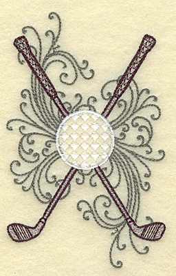Embroidery Design: Crossed golf clubs ball and swirls small 3.04w X 4.90h