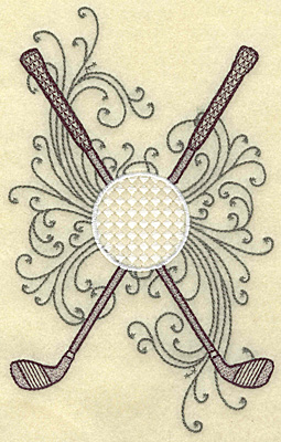Embroidery Design: Crossed golf clubs ball and swirls large 4.35w X 7.00h