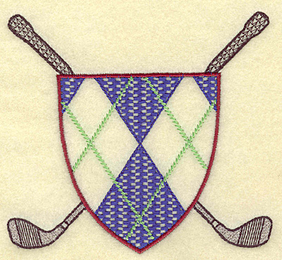 Embroidery Design: Crossed golf clubs with plaid shield 4.96w X 4.47h
