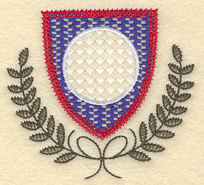 Embroidery Design: Shield golf ball and leaves small 3.50w X 3.25h