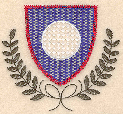 Embroidery Design: Shield golf ball and leaves large 4.99w X 4.52h