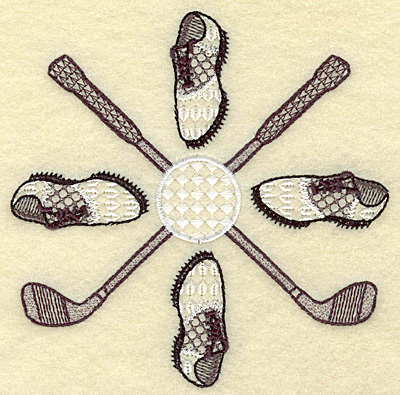 Embroidery Design: Golf clubs ball and shoes small 4.93w X 4.93h