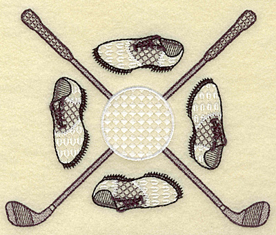 Embroidery Design: Golf clubs ball and shoes large 6.06w X 4.93h