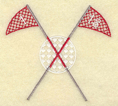 Embroidery Design: Golf ball witn crossed flag poles small 3.60w X 3.31h