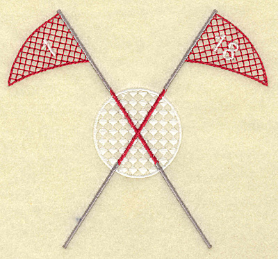 Embroidery Design: Golf ball with crossed flag poles large 4.99w X 4.58h