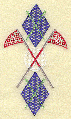Embroidery Design: Golf ball plaid and flag poles small 2.84w X 4.97h