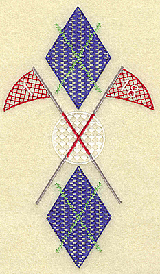 Embroidery Design: Golf ball plaid and flag poles large 4.00w X 6.98h