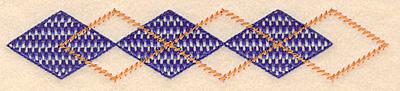 Embroidery Design: Plaid diamond border small 6.95w X 1.37h