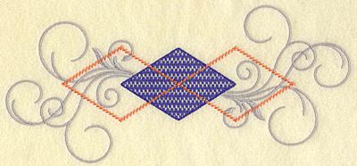 Embroidery Design: Plaid diamond and swirls large 10.03w X 4.62h