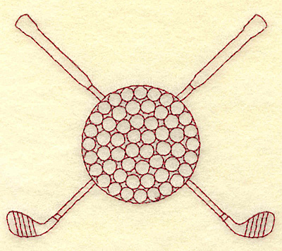 Embroidery Design: Golf ball and clubs redwork 3.87w X 3.22h