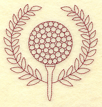 Embroidery Design: Golf ball and laurel leaves redwork 3.84w X 3.83h