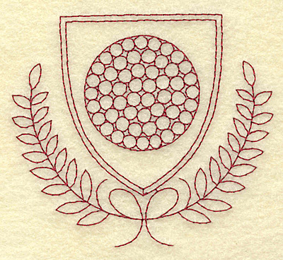 Embroidery Design: Golf ball shield and leaves redwork 3.88w X 3.44h