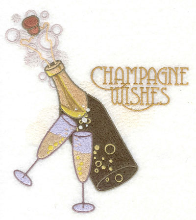 Embroidery Design: Champagne Bottle Warm Wishes6.03w X 6.68h
