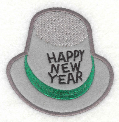 Embroidery Design: Happy New Year Hat Applique3.82w X 3.85h