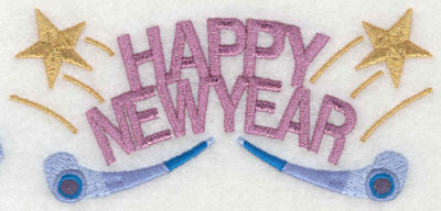 Embroidery Design: Happy New Year with Noisemakers6.10w X 2.82h