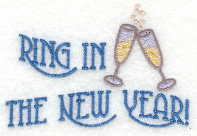Embroidery Design: Ring in the New Year Horizontal7.01w X 1.87h