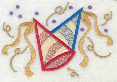Embroidery Design: Party Hats with Streamers Applique6.01w X 4.14h