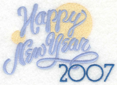 Embroidery Design: Happy New Year 2007 with Bubbles5.27w X 3.64h