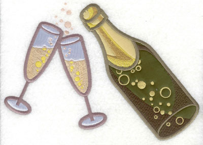 Embroidery Design: Large Champagne Bottle with glasses applique8.31w X 5.71h