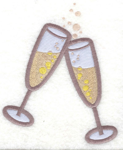 Embroidery Design: Champagne Glasses Applique4.41w X 5.28h