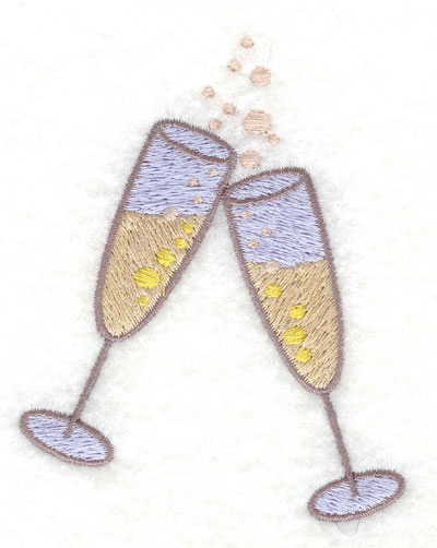 Embroidery Design: Champagne Glasses Small3.03w X 3.76h