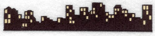 Embroidery Design: Night Cityscape Large7.01w X 1.42h