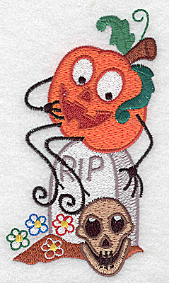 Embroidery Design: Mr. Pumpkinhead with skull large 2.81w X 4.96h