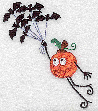Embroidery Design: Mr. Pumpkinhead with bats large 4.06w X 4.95h