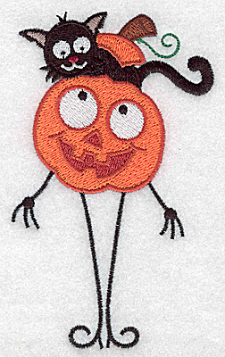 Embroidery Design: Mr. Pumpkinhead with black cat large 2.96w X 4.94h
