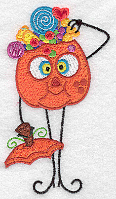 Embroidery Design: Mr. Pumpkinhead full of candies large 2.84w X 4.94h