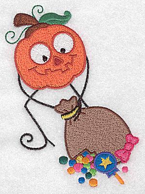 Embroidery Design: Mr. Pumpkinhead hauling loot bag large 3.51w X 4.93h