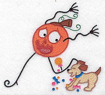 Embroidery Design: Mr. Pumpkinhead being chased by dog large 4.94w X 4.54h