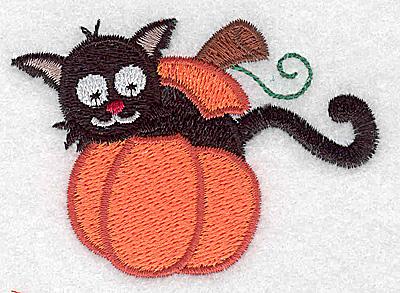 Embroidery Design: Black cat in pumpkin 3.01w X 2.15h