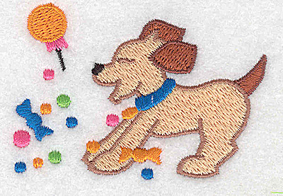 Embroidery Design: Dog with candy 2.99w X 2.13h