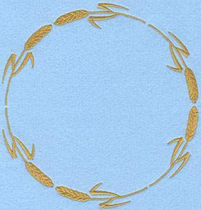 Embroidery Design: Circular Wheat Sheaf A6.39w X 6.71h